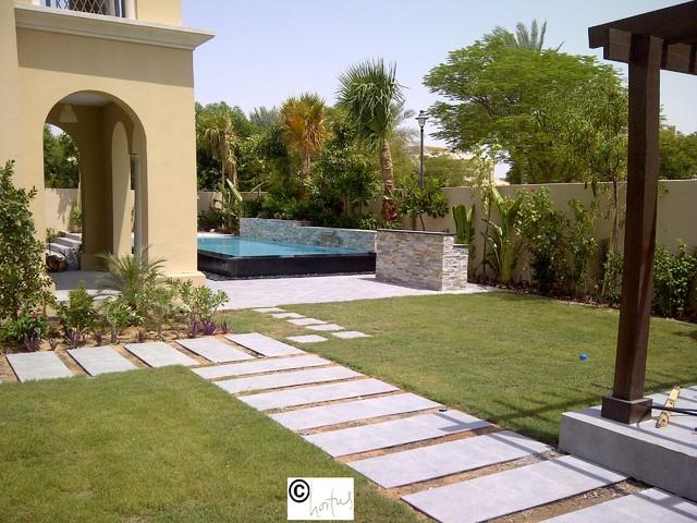Tropical garden in arabian ranches tropical landscape for Garden design dubai