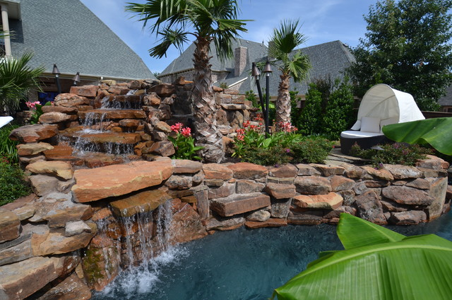 This Is An Example Of A Large Tropical Full Sun Backyard Stone Water  Fountain Landscape In