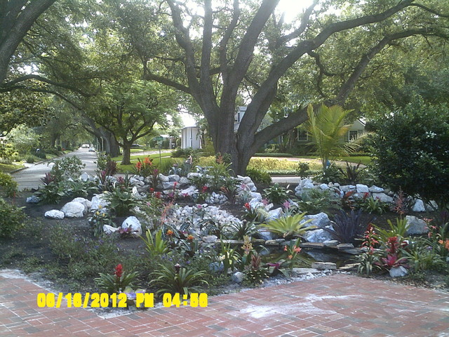 Tropical low maintenance front yard traditional for Low maintenance tropical landscaping