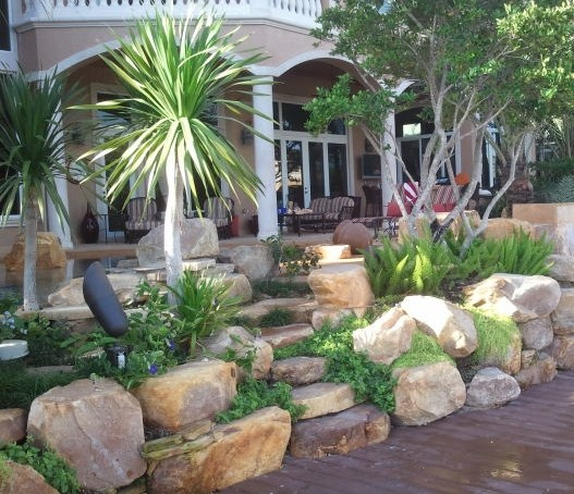 Tropical Outdoor Rock Garden Steps In Florida Tropical