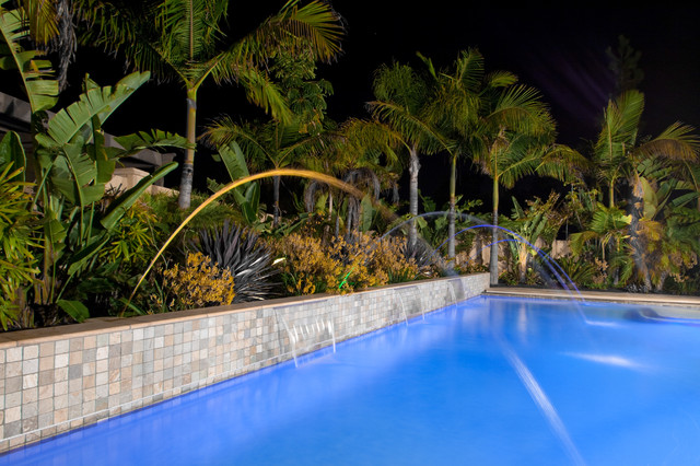 tropical style planting behind pool tropical landscape