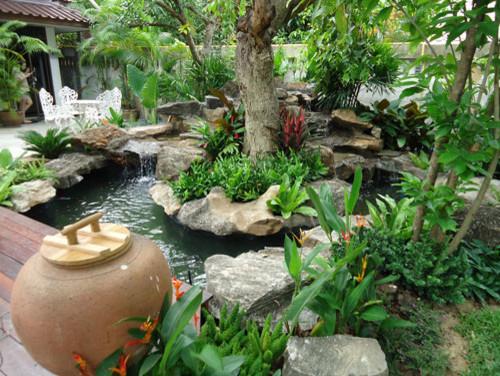Tropical Thailand Waterfall Garden Landscape