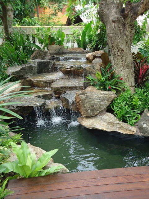Tropical thailand waterfall garden tropical landscape for Waterfalls for ponds for sale