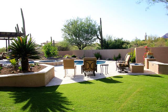 Tucson travertine mediterranean landscape phoenix for Pool design tucson