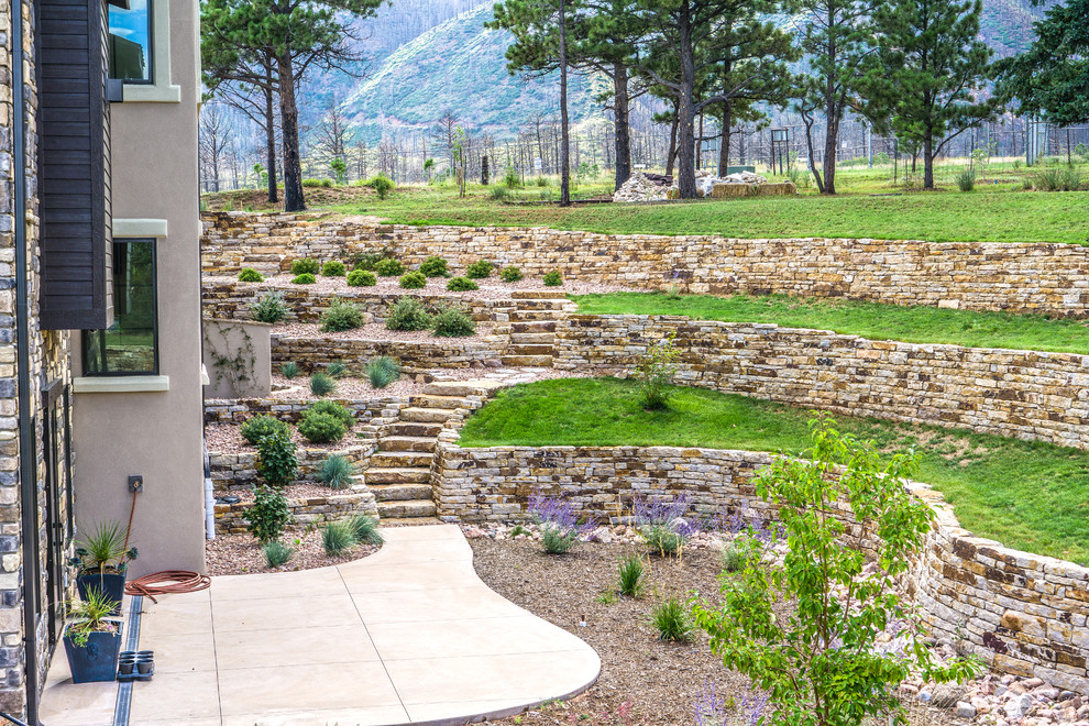 Tuscan Style Home With Siloam Stone Walls Mediterranean Landscape Denver By Accent Landscapes