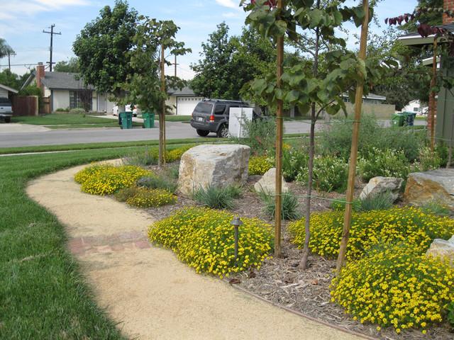 California native friendly front yard mediterranean for Landscaping rocks orange county