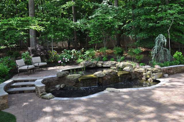 Two tiered koi pond and paver patio traditional for Stone koi pond