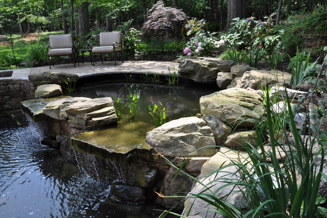 Two Tiered Koi Pond With Plantings And Natural Stone
