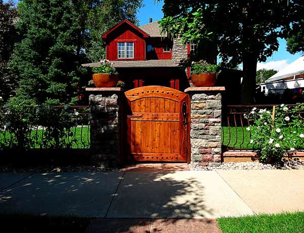 Unique Custom Wood Gate And Stone Pillar Entryway Rustic