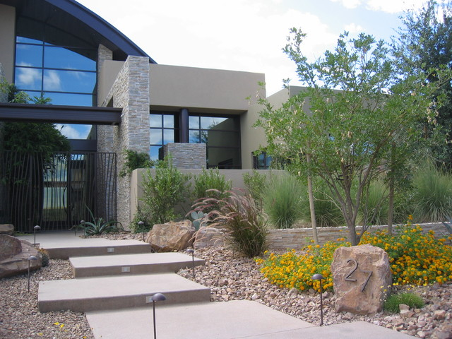Vegas residence for Contemporary front yard landscaping