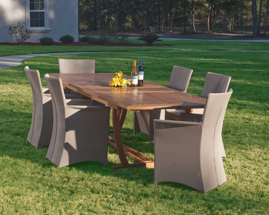 Veranda Apollo 7 pc Set - With ample room at this 7 piece dining set, you can enjoy family time on a Sunday afternoon or an intimate dinner with friends any day of the week.