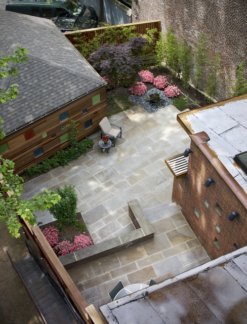 View of patio from above modern landscape