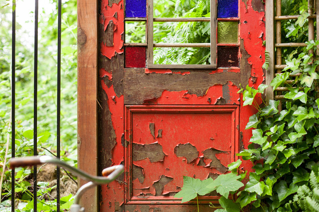 Wabi Sabi   Old Red Door Traditional Landscape