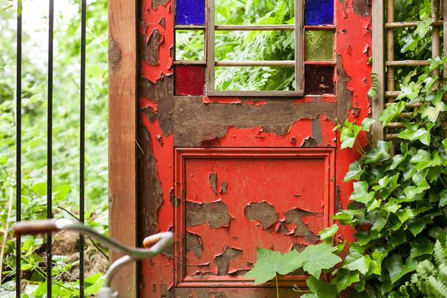 wabi sabi old red door traditional landscape. Black Bedroom Furniture Sets. Home Design Ideas