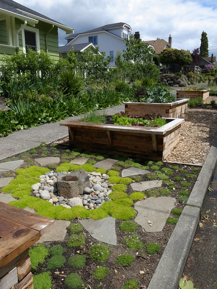 Photo of a traditional side yard water fountain landscape in Seattle.