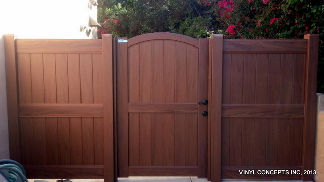 Walnut Vinyl Wood Look Fencing Gates Railing Patio Covers