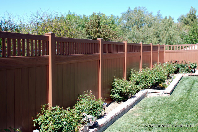 WALNUT VINYL WOOD LOOK FENCING GATES RAILING PATIO