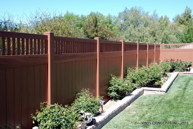 Walnut Vinyl Wood Look Fencing Gates Railing Patio