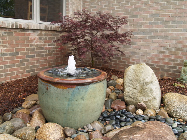 Water feature asian landscape detroit by bluegrass for Japanese water feature for sale