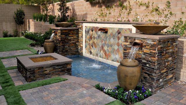 Water features mediterranean landscape las vegas for Custom garden designs