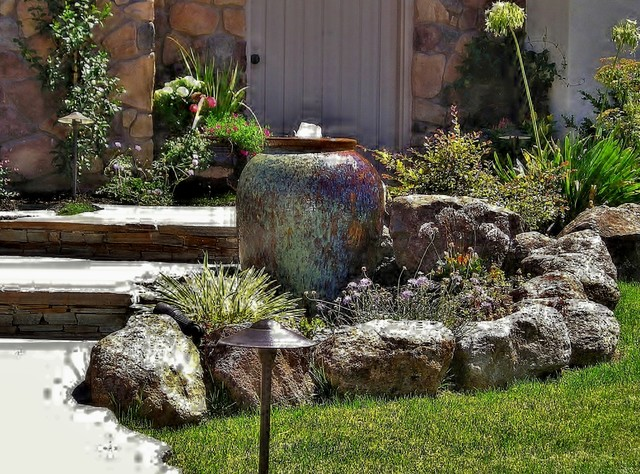 Water features mediterranean landscape sacramento Water fountain landscaping ideas