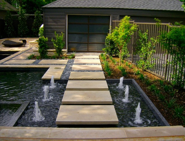 Water features contemporary landscape dallas by for Garden fence features