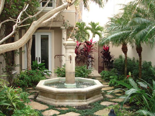 Water Fountain Mediterranean Landscape Tampa By Mjm Design