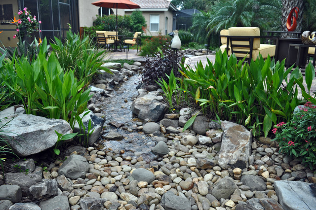 Waterfall stream with dry creek tropical landscape for Dry garden designs