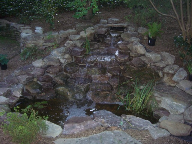 Waterfalls And Fish Pond Contemporary Landscape