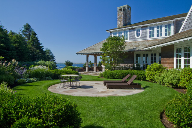 Waterfront round patio beach style landscape boston for Waterfront deck designs