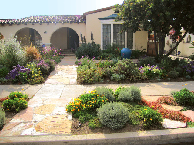Flagstone Patio With Fire Pit Walkways