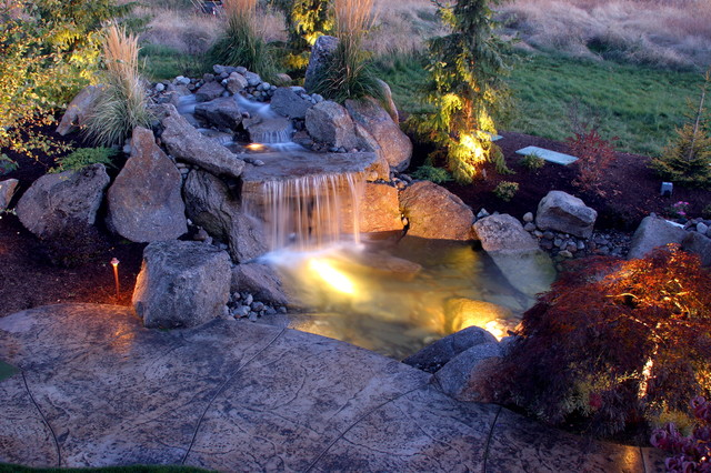 We add Fire, Water and Light! eclectic landscape