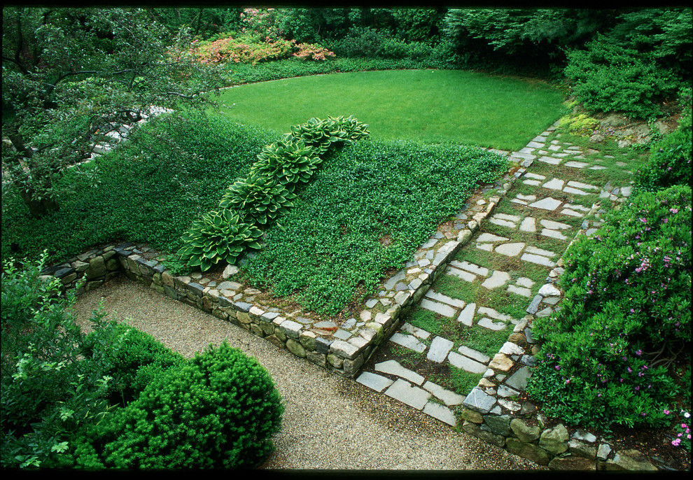 This is an example of a traditional shade hillside landscaping in Boston.