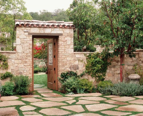 The beauty of flagstone fuller stone care for Garden gate designs wood rustic