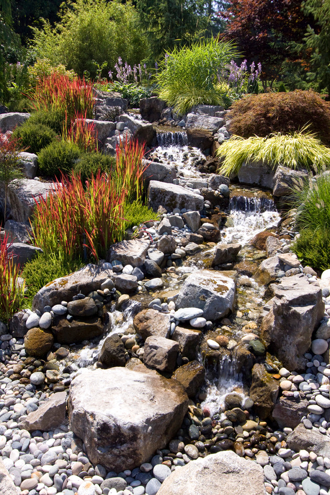 Inspiration for a rustic water fountain landscape in Vancouver.