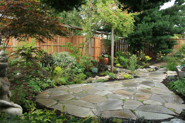 West Seattle Eco friendly Home rain garden and patio