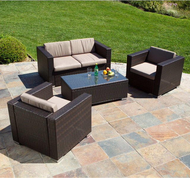 Westlake brown wicker 4pc outdoor sofa set modern Outdoor sofa tables