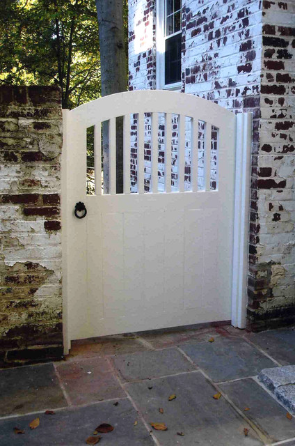 White wood garden gate traditional landscape dc for Garden gate designs wood