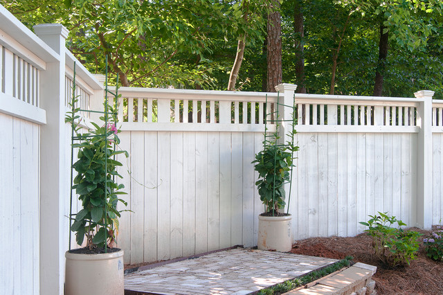 White Wood Privacy Fence Gate Transitional Garden