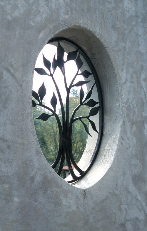 Landscape Window with decorative iron inserts