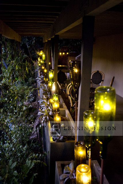 Wine Bottle Lighting On Patio Eclectic Landscape Los