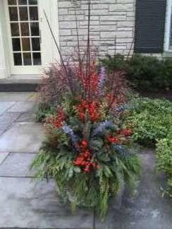 Winter Outdoor Pot And Planters Garden Arrangement, Winnetka, Illinois  Traditional Landscape