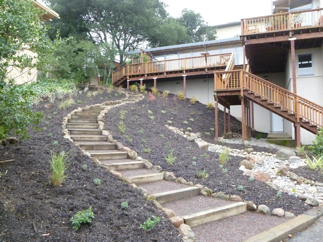 wood and gravel access steps traditional landscape san francisco