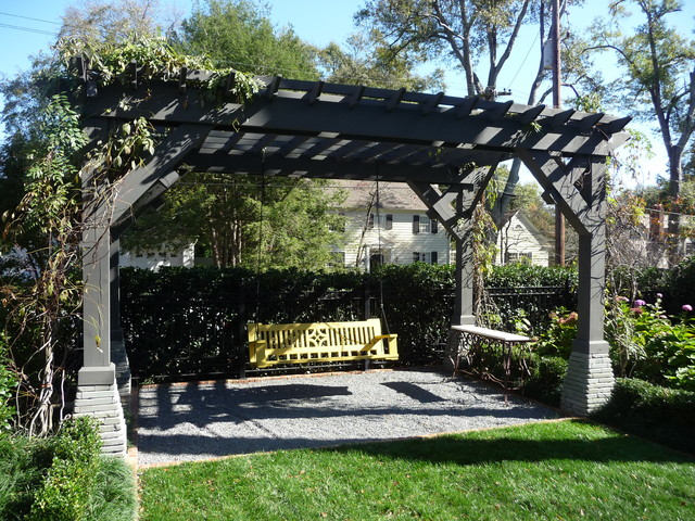 Wood Arbor and Bench Swings traditional-landscape