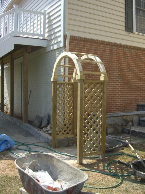 Wood arbors and entrances craftsman landscape other for Craftsman style trellis