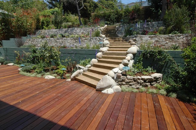 Wood Deck And Retaining Walls Transitional Landscape