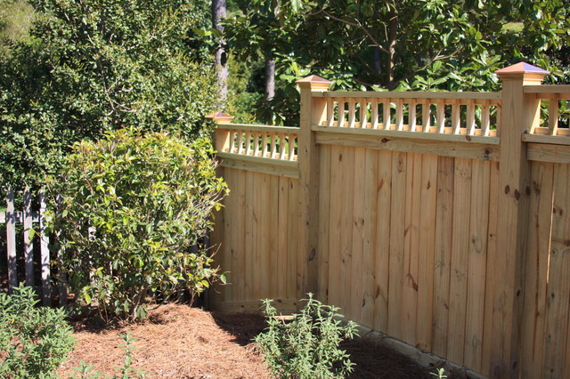 wood privacy fence - traditional - landscape - raleigh