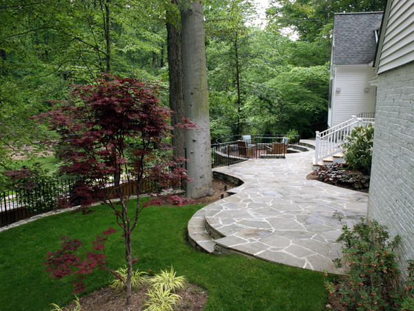 Wooded landscape with flagstone patio and conversation pit for Traditional landscape