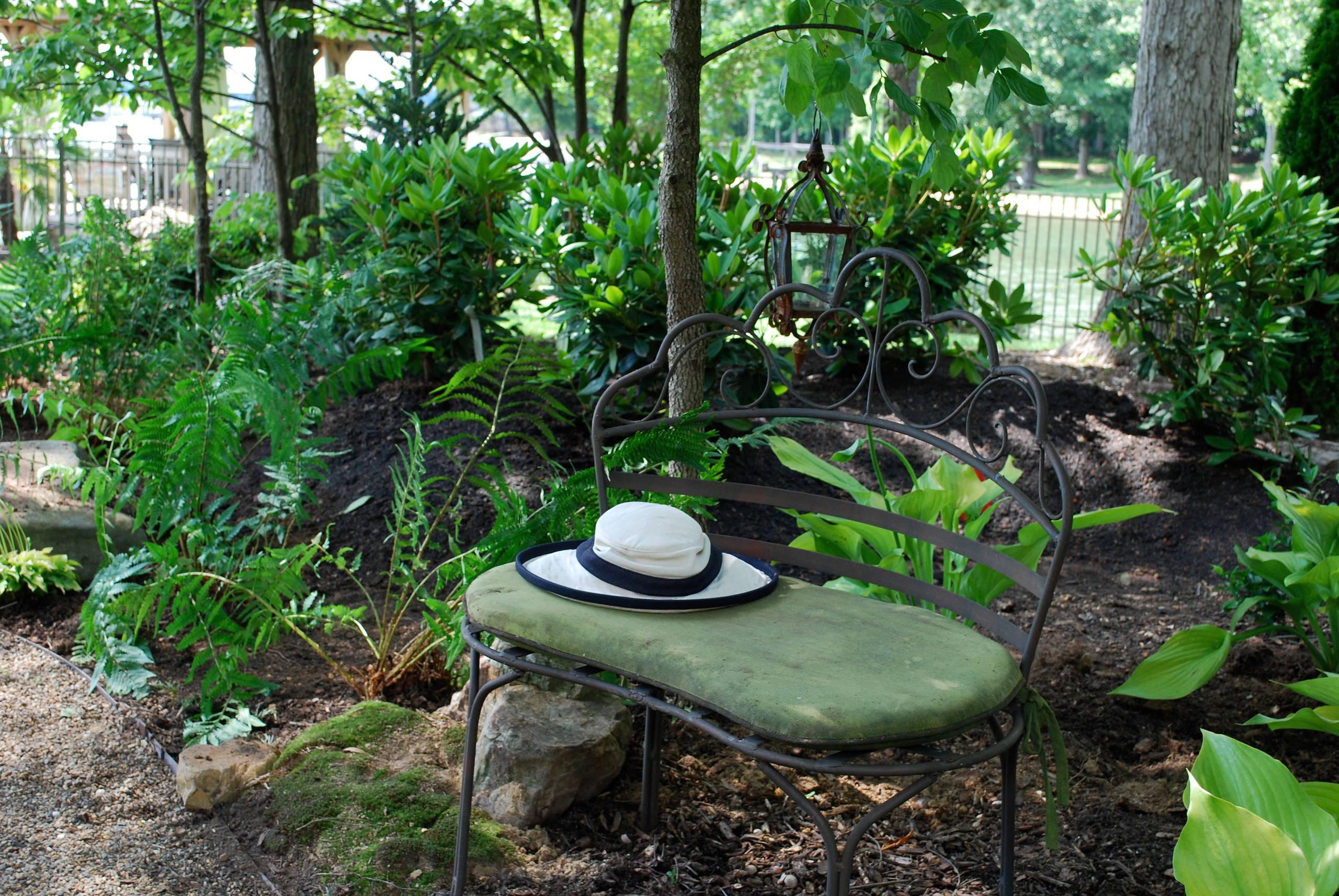 Woodland back garden reno on Lake Norman.