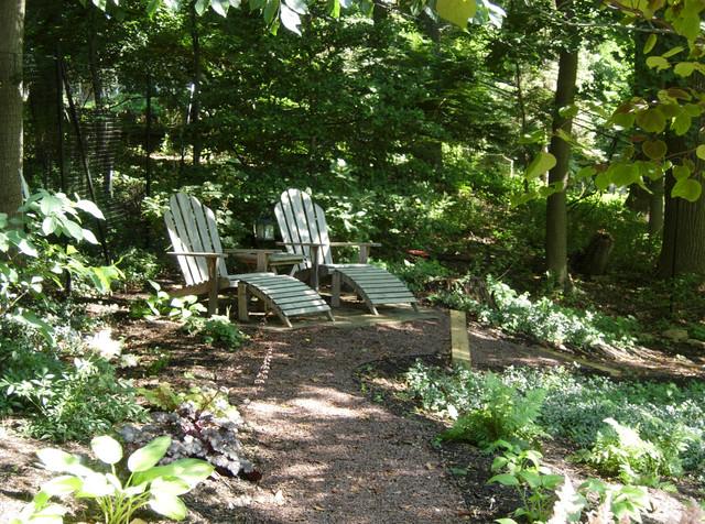Woodland walk seating area traditional landscape for Woodland landscape design